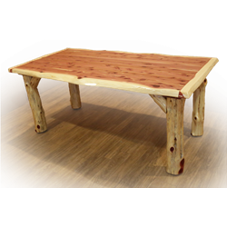 Rustic Red Cedar Log Solid Top Family Dining Table
