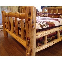 Rustic Red Cedar Log Mission Style Bed with Double Side Rail