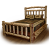 Rustic Red Cedar Log Platform Bed with Double Side Rail