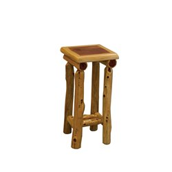 Rustic Red Cedar Log Small End Table/Night Stand with Shelf