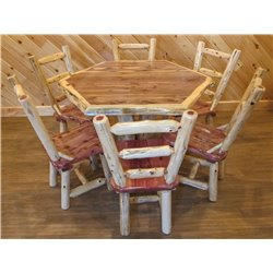 Red Cedar Log Hexagon Dining Table and 6 Ladderback Dining Chairs Set