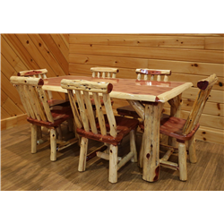 Rustic Red Cedar Log Solid Top Family Dining Table Set - 1 -Table &  6 Chairs