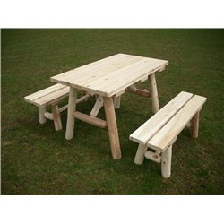 White Cedar Log 4 Ft Picnic Table with Detached Benches