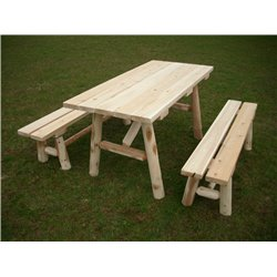White Cedar Log 5 Ft Picnic Table with Detached Benches