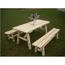 White Cedar Log 6 Ft Picnic Table with Detached Benches