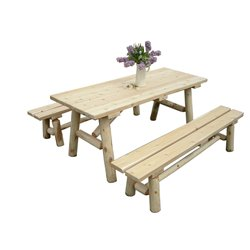 White Cedar Log 8 Ft Picnic Table with Detached Benches