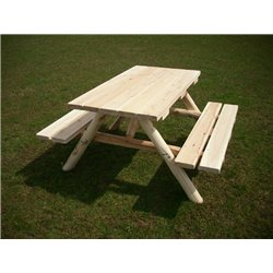 White Cedar Log Picnic Table with Attached Benches - 4 Sizes