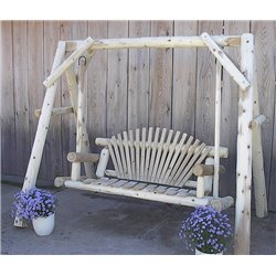 White Cedar Log A Frame with Swing - 2 Size Options
