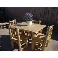 White Cedar Log Table with 4 Chairs Set