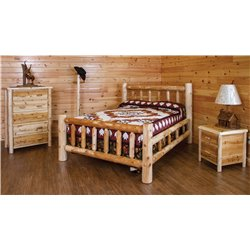Classic Mission Style Bedroom Set - Bed, Nightstand, 5 Drawer Chest, Coat Tree, Pine Cabin Lamp - King or Queen