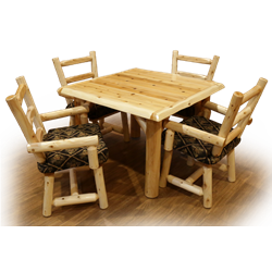 White Cedar Log Solid Top Dining Table Set - 1 Family Dining Table and 4 Captain's Chairs with Arms & Upholstered Seat