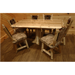 White Cedar Log Stump Dining Table Set - 1 Stump Dining Table and 6 Dining Room Chair wih Upholstered Seat and Back
