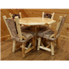 White Cedar Log Octogon Table & 4 Dining Room Chairs with Upholstered Seat and Back