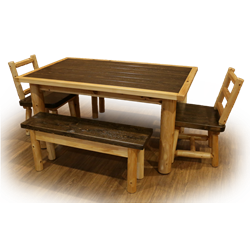 Mountain Collection Family Table Set - Table, 2 Dining Chairs, & 2 Dining Bench's - 2 Size Options