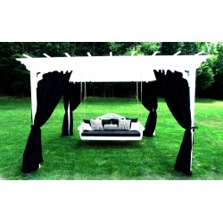 Curtains for 8'X8' Pergola - 4 Panels with Hangers & Curtain Rods