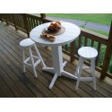 """Poly Lumber Wood Patio Set- 44"""" Round Bar Table and 4 Stools"""