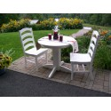 """Poly Lumber Wood Patio Set- 44"""" Round Table and 4 Ladderback Arm Chairs"""