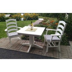 "Poly Lumber Wood Patio Set- 33"" Square Table and 2 Ladderback Arm Chairs - Amish"
