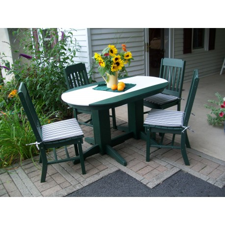 Poly Lumber Wood Patio Set- 4' Oval Table and 4 Traditional Chairs