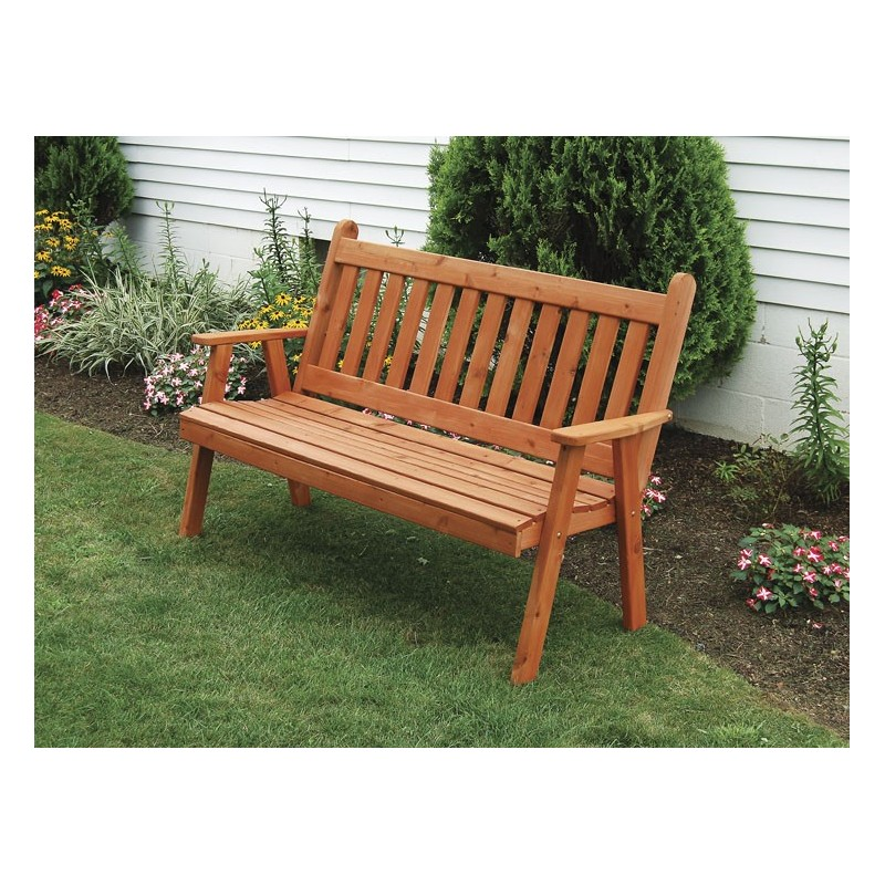 5u0027 Traditional English Garden Bench   Redwood Stain