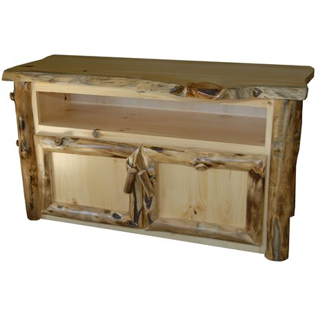Rustic Aspen Log TV Stand