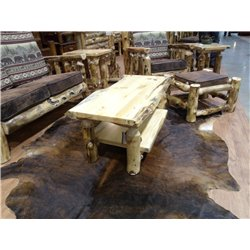 Rustic Aspen Log Coffee Table