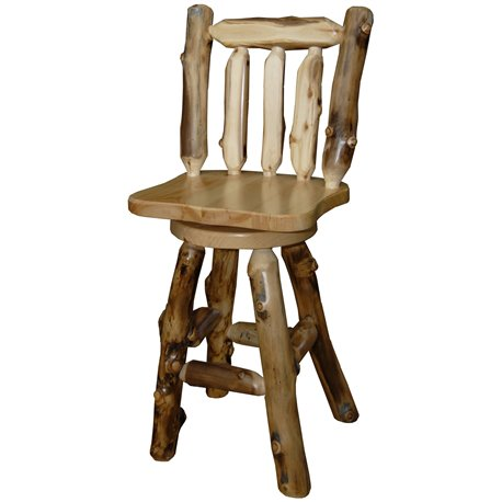 "Rustic Aspen Log 30"" Bar Stool *with Back & Swivel* Set of 2"
