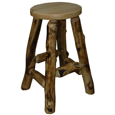"Rustic Aspen Log 24"" Bar Stool"