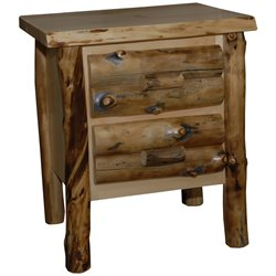 Rustic Aspen Log 2 Drawer Nightstand