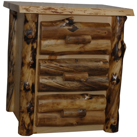 Rustic Aspen Log 3 Drawer Nightstand