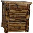 Rustic Aspen Log 3 Drawer Nightstand/End table