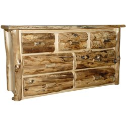 Rustic Aspen Log 7 Drawer Dresser