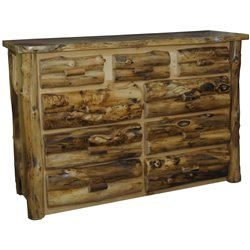 Rustic Aspen Log 9 Drawer Dresser