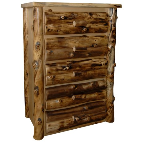 Rustic Aspen Log 5 Drawer Dresser