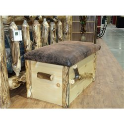 Rustic Aspen Log Blanket Chest with Seat