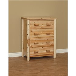 Finished White Cedar 4 Drawer Chest- Classic