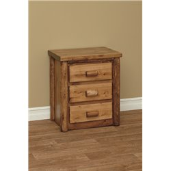 Finished White Cedar 3 Drawer Nightstand- Classic