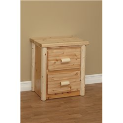 Finished White Cedar 2 Drawer Nightstand- Classic