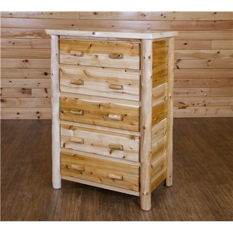 White Cedar Log 5 Drawer Chest