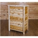 Rustic White Cedar Log 3, 4, or 5 Drawer Chest- Amish Made USA