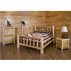 White Cedar Log Bedroom Set *Bed, Dresser, Nightstand, Coat Rack*