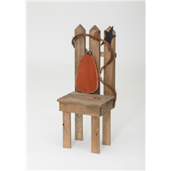 Primitive Rustic Wooden Fall Chair with Pumpkin