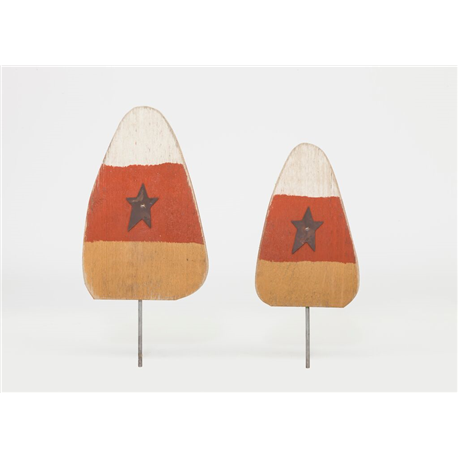 Primitive Rustic Wooden Candy Corn Lawn Post- Set of 2