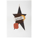 Primitive Rustic Wooden XL Fall and Halloween Welcome Star with Pumpkin