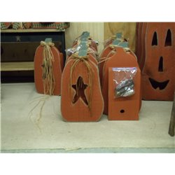 Primitive Rustic Wooden Luminary Pumpkin with Star (Light Included)