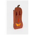 Primitive Rustic Large Wooden Luminary Pumpkin with Lights for Fall and Halloween