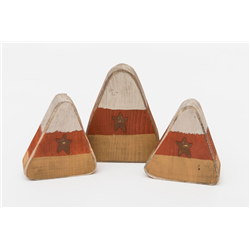 Primitive Rustic Painted Wooden Candy Corn Mantle Sitters- Set of 3 for Fall and Halloween
