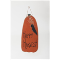 "Primitive Rustic 32"" Wooden Hanging Pumpkin with Crow for Fall and Halloween"