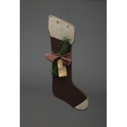 Primitive Rustic Christmas Decoration - Cheerful Wooden Hanging Holiday Stocking