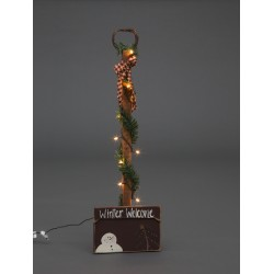 Primitive Rustic Christmas Decoration - Winter Welcome Lighted Snowman Shovel